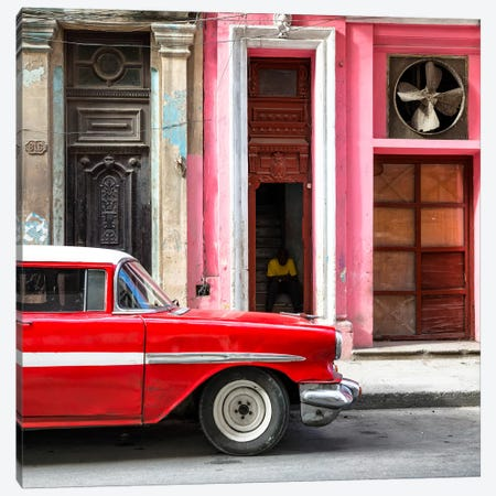 Old Classic American Red Car 3-Piece Canvas #PHD374} by Philippe Hugonnard Canvas Print