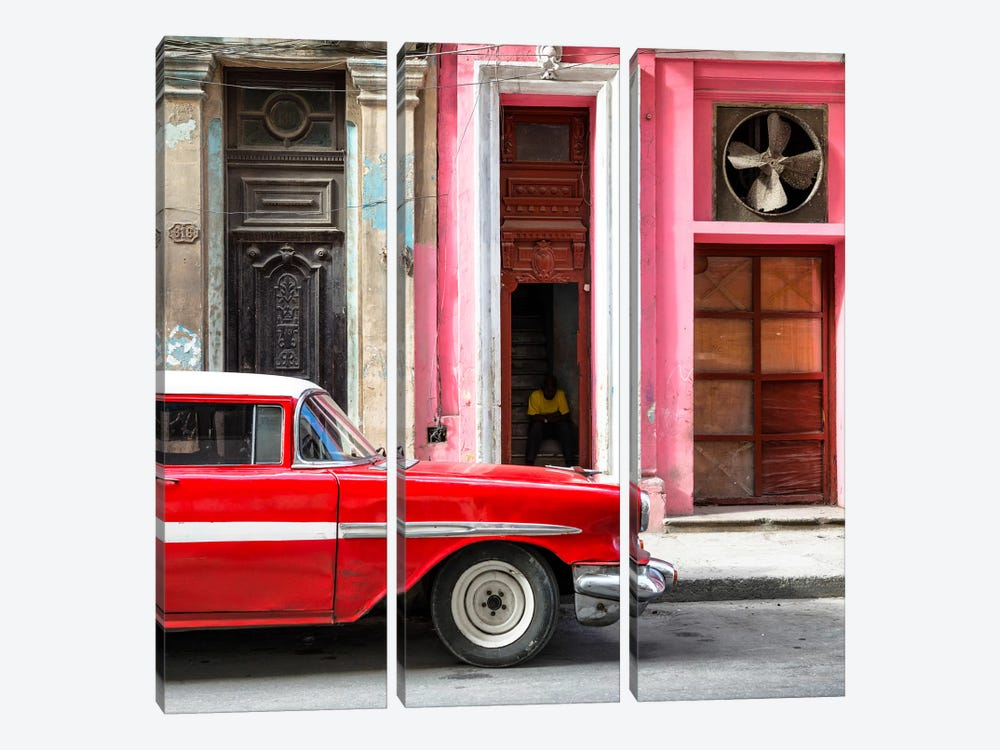 Old Classic American Red Car by Philippe Hugonnard 3-piece Canvas Print
