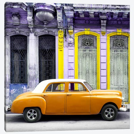 Orange Vintage Car in Havana Canvas Print #PHD375} by Philippe Hugonnard Canvas Print