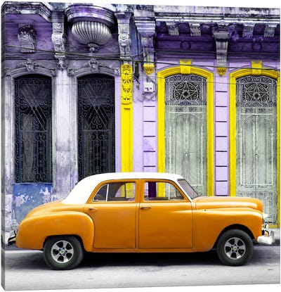 Orange Vintage Car in Havana Canvas Art Print