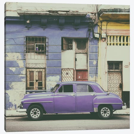 Purple Vintage American Car in Havana 3-Piece Canvas #PHD376} by Philippe Hugonnard Canvas Print