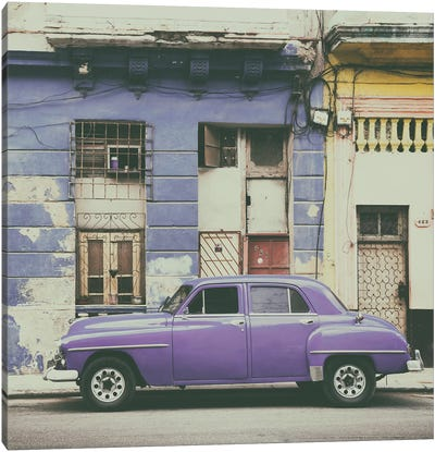 Purple Vintage American Car in Havana Canvas Art Print