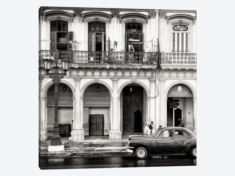 Colorful Architecture and Black Classic Car in B&W by Philippe Hugonnard 1-piece Canvas Artwork