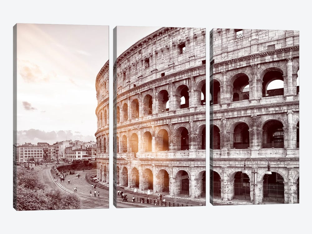 Dolce Vita Rome - Ray of Light Collection - The Colosseum by Philippe Hugonnard 3-piece Canvas Wall Art