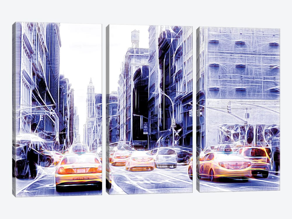 Blue Street by Philippe Hugonnard 3-piece Canvas Print
