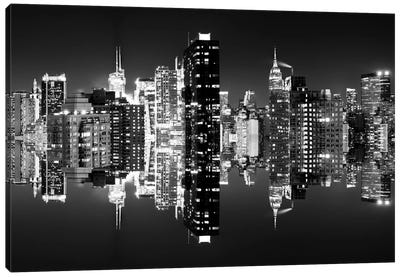 Double Sided - Manhattan Skyline - BW Canvas Print #PHD3