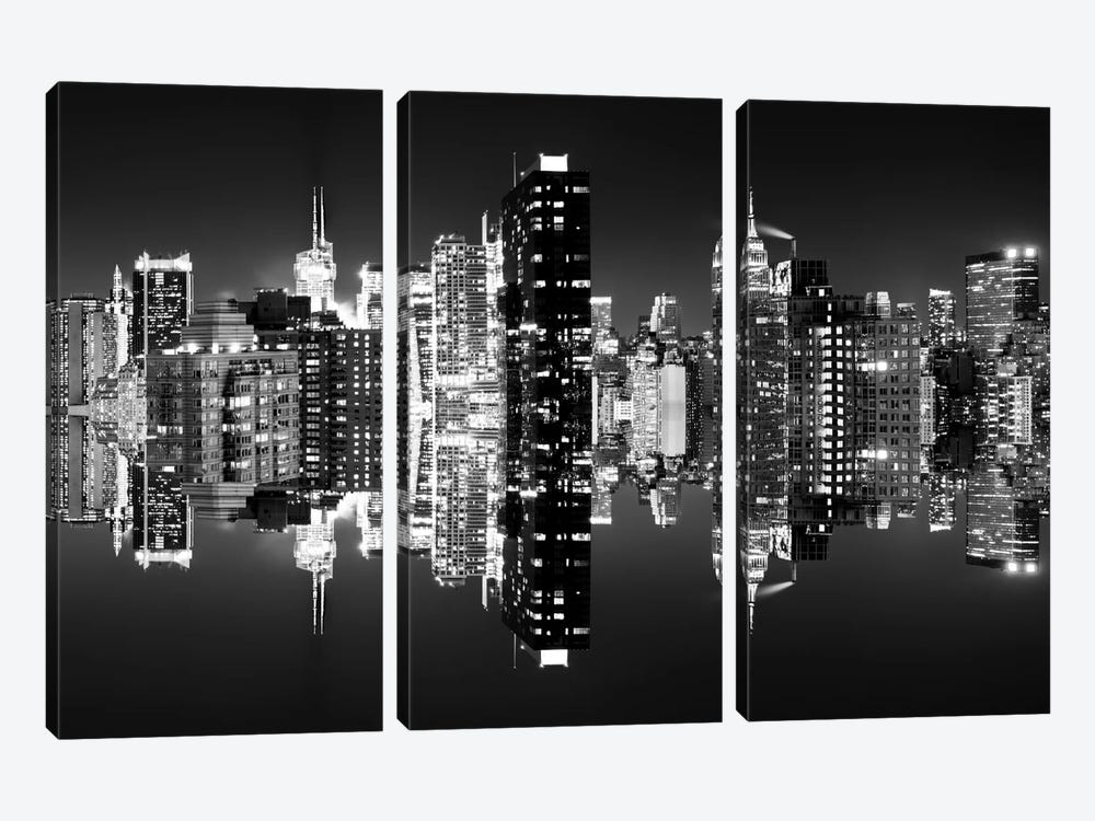 Double Sided - Manhattan Skyline - BW by Philippe Hugonnard 3-piece Art Print