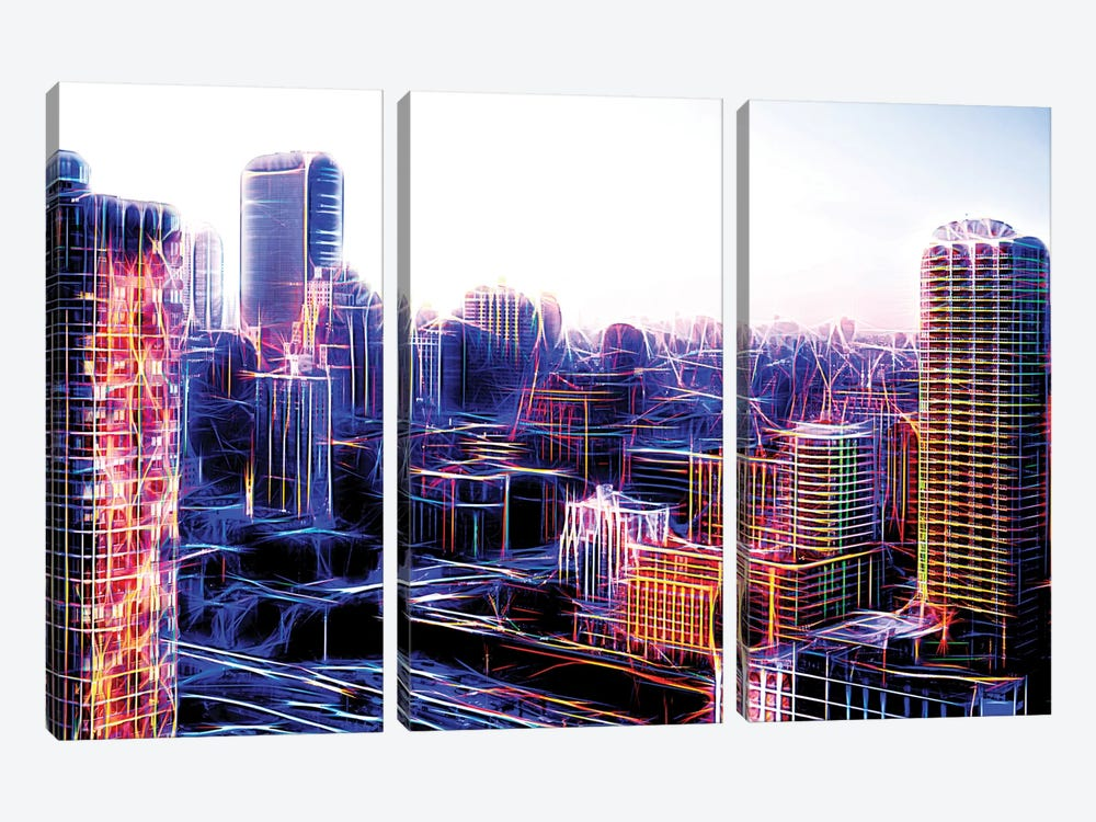 Digital Buildings by Philippe Hugonnard 3-piece Canvas Print