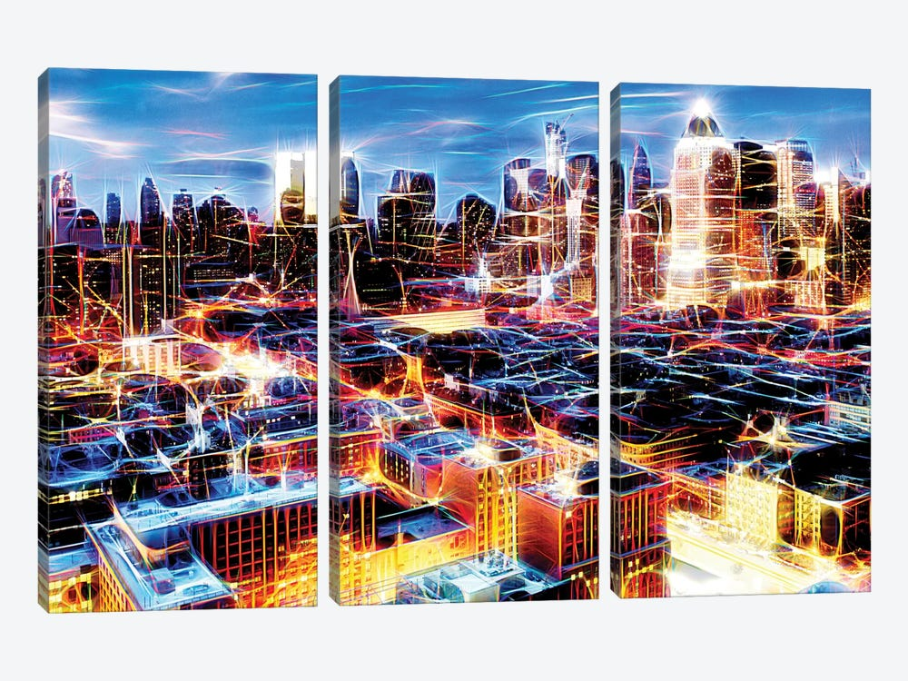 Electric Storm At Night by Philippe Hugonnard 3-piece Canvas Art