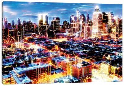 Electric Storm At Night Canvas Art Print