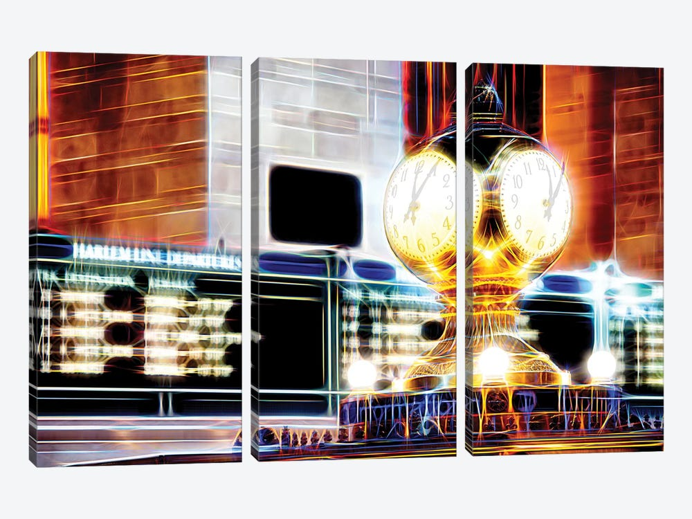 Famous Clock by Philippe Hugonnard 3-piece Canvas Artwork