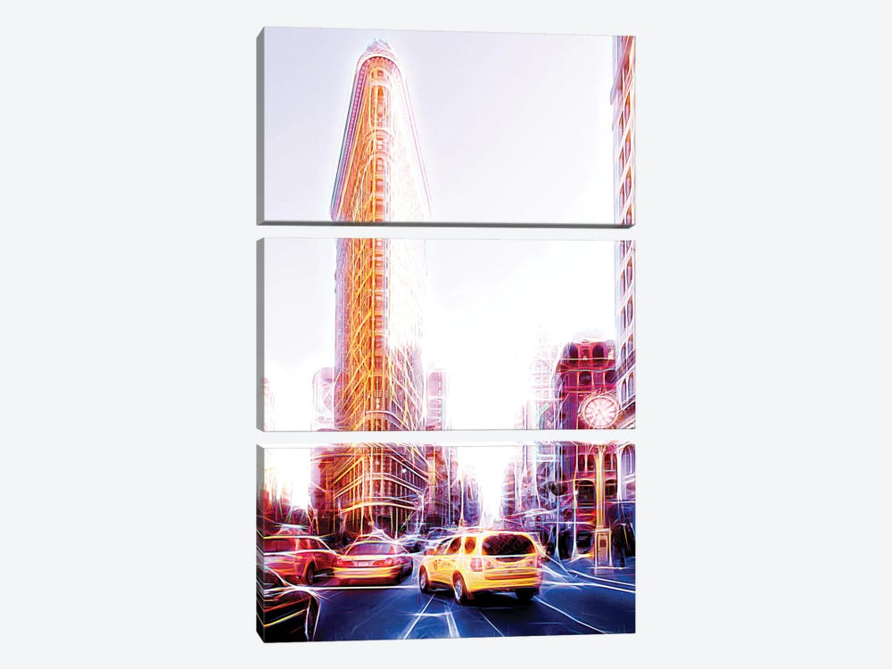 Flatiron Taxis by Philippe Hugonnard 3-piece Canvas Wall Art