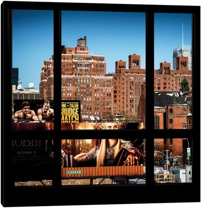 Manhattan Buildings - Window View Canvas Print #PHD41