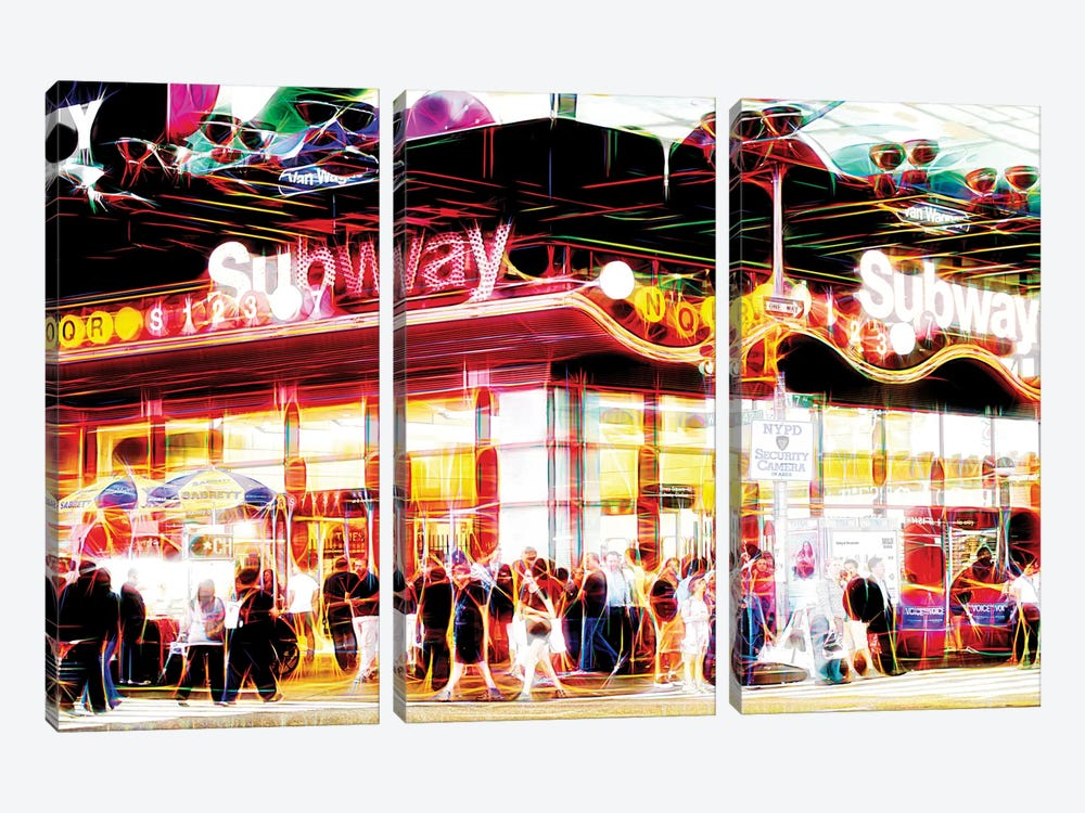 Subway Station by Philippe Hugonnard 3-piece Canvas Art Print