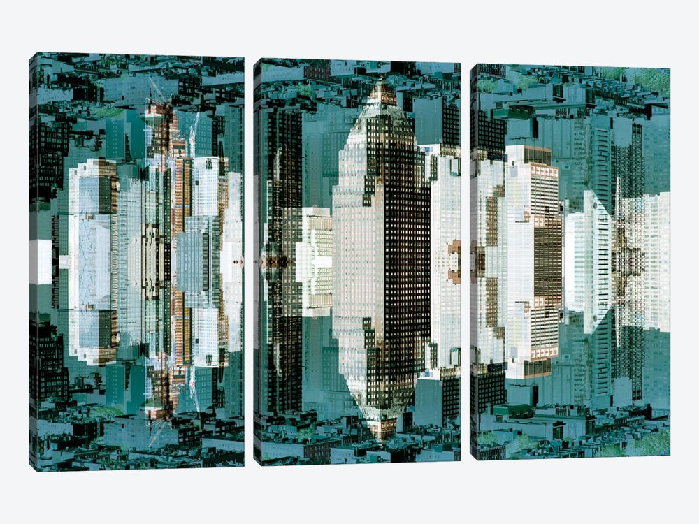 New York Reflection - Green City by Philippe Hugonnard 3-piece Canvas Print