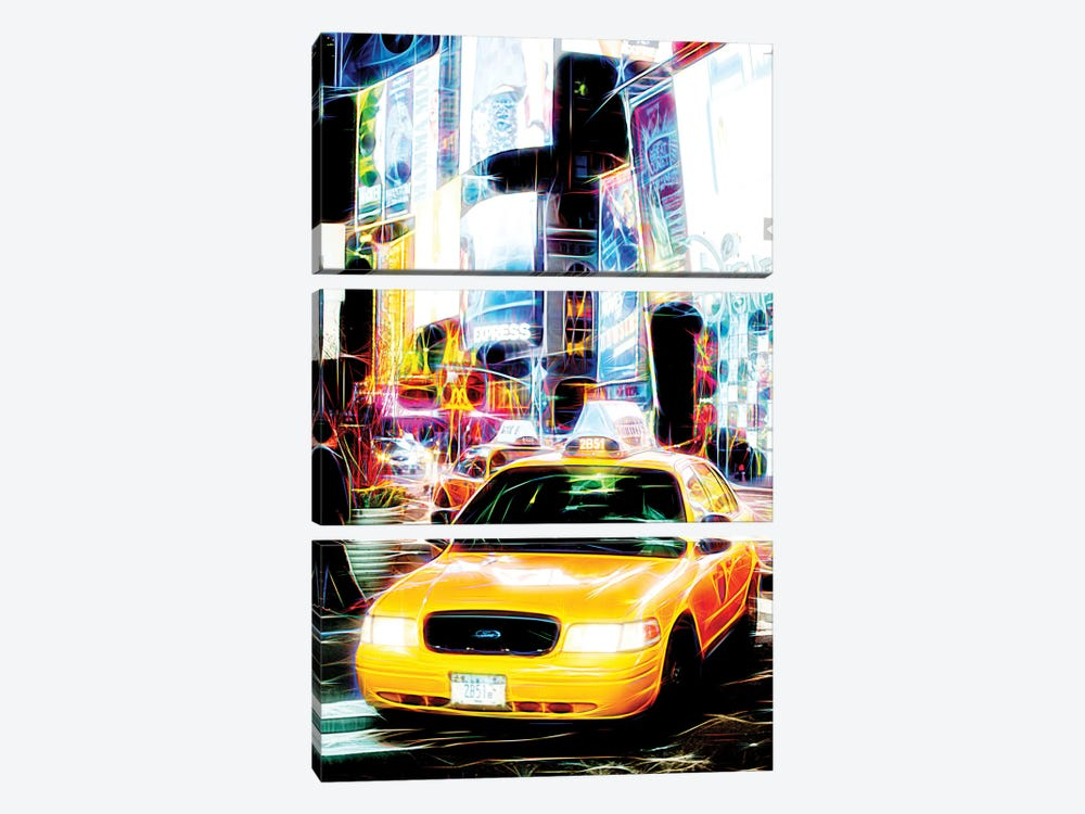 Taxi Fevers by Philippe Hugonnard 3-piece Canvas Print