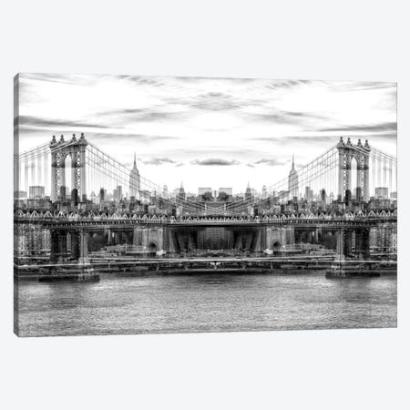 New York Reflection - Manhattan Bridge - BW Canvas Print #PHD46} by Philippe Hugonnard Canvas Print