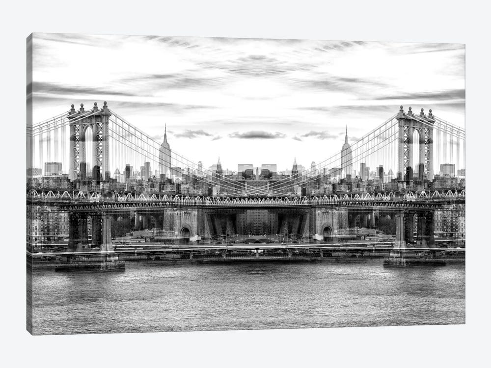 New York Reflection - Manhattan Bridge - BW by Philippe Hugonnard 1-piece Canvas Artwork