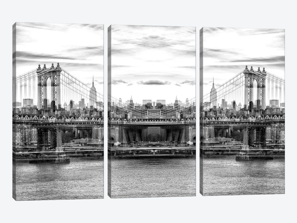 New York Reflection - Manhattan Bridge - BW by Philippe Hugonnard 3-piece Canvas Wall Art