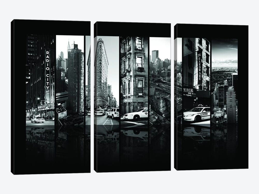 Seven Of 7 NYC B&W I by Philippe Hugonnard 3-piece Canvas Art Print