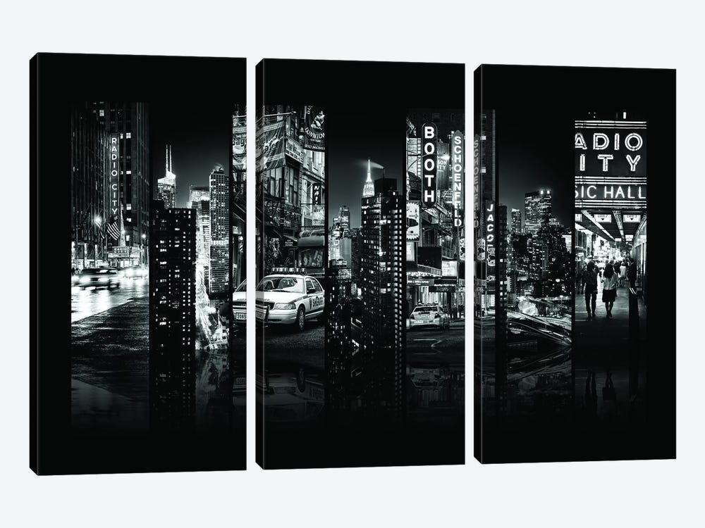 Seven Of 7 NYC B&W VI by Philippe Hugonnard 3-piece Canvas Wall Art