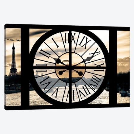 Giant Clock Window - Paris Sunset Canvas Print #PHD496} by Philippe Hugonnard Canvas Wall Art