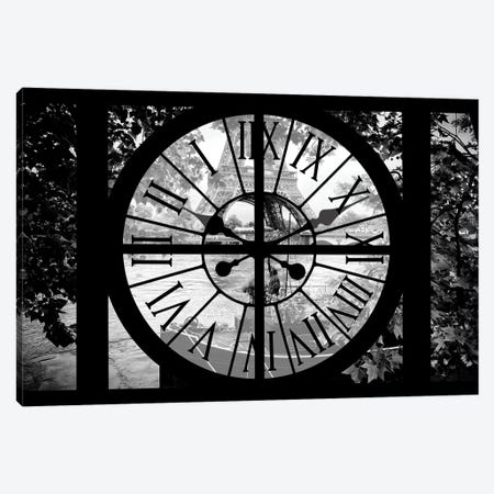 Giant Clock Window - View Of The Eiffel Tower Canvas Print #PHD497} by Philippe Hugonnard Canvas Wall Art