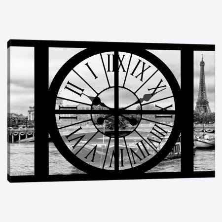 Giant Clock Window - View Of The Seine Canvas Print #PHD498} by Philippe Hugonnard Canvas Art Print
