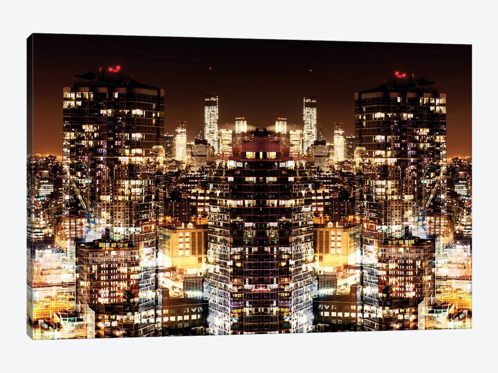 New York Reflection - Manhattan Night by Philippe Hugonnard 1-piece Canvas Print