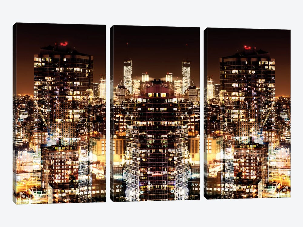 New York Reflection - Manhattan Night by Philippe Hugonnard 3-piece Canvas Art Print