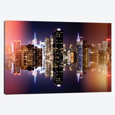Double Sided - Manhattan Skyline - Colors Night Canvas Print #PHD4} by Philippe Hugonnard Art Print
