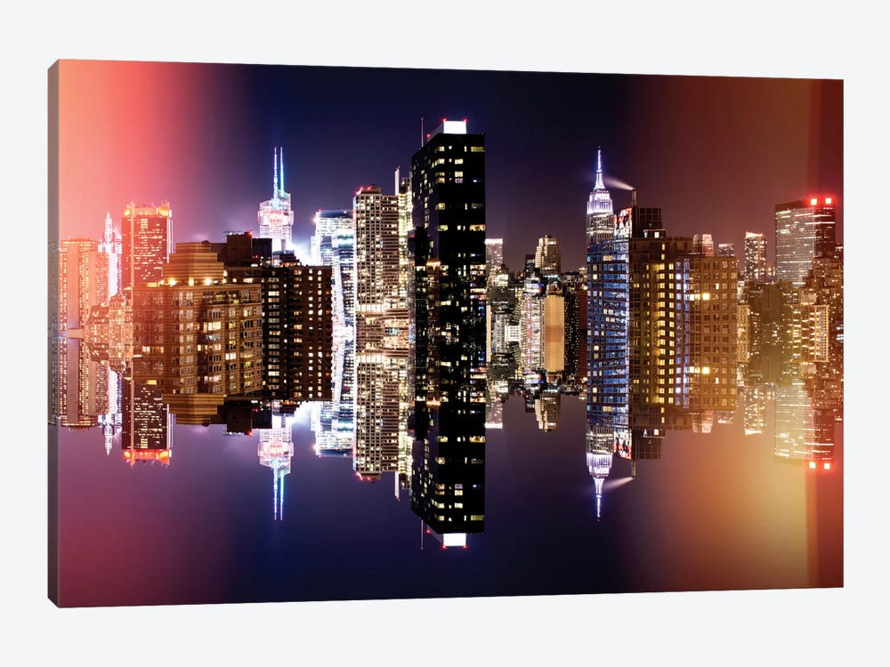 Double Sided - Manhattan Skyline - Colors Night by Philippe Hugonnard 1-piece Canvas Wall Art