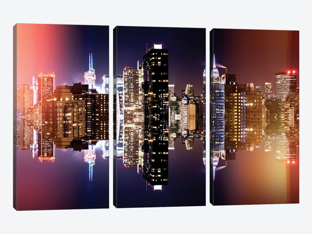 Double Sided - Manhattan Skyline - Colors Night by Philippe Hugonnard 3-piece Canvas Wall Art