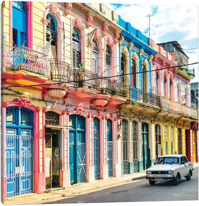 Colorful Facades In Havana Canvas Art Print