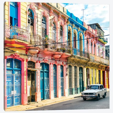 Colorful Facades In Havana Canvas Print #PHD500} by Philippe Hugonnard Canvas Print