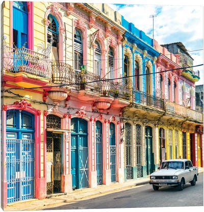 Colorful Facades In Havana Canvas Art Print