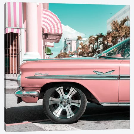 Vintage Pink Car Canvas Print #PHD501} by Philippe Hugonnard Canvas Print