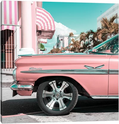 Vintage Pink Car Canvas Art Print