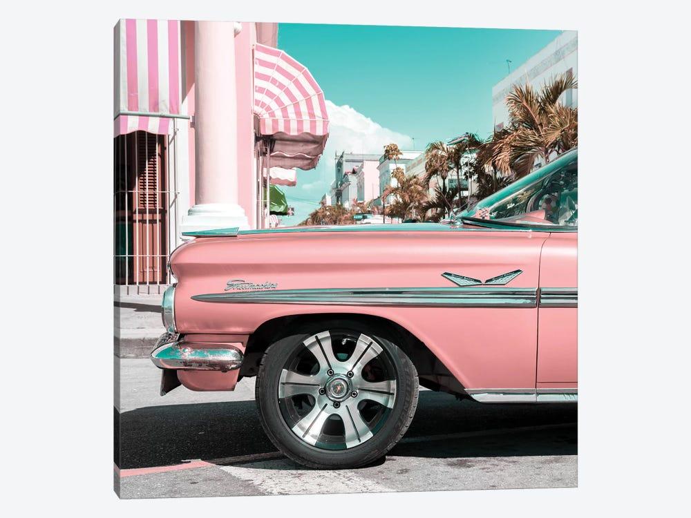 Vintage Pink Car by Philippe Hugonnard 1-piece Art Print