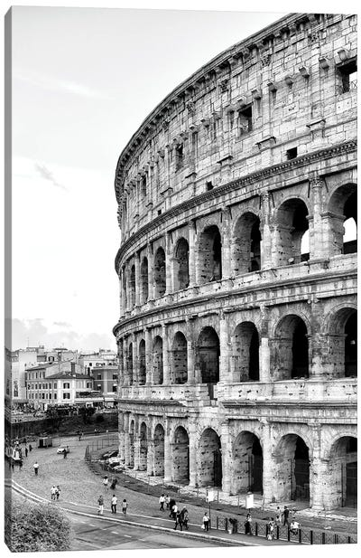 The Colosseum In Black & White Canvas Art Print