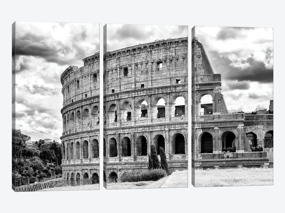 Colosseum In Black & White by Philippe Hugonnard 3-piece Canvas Print