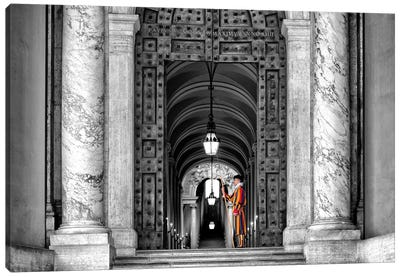 The Swiss Guard In Black & White Canvas Art Print
