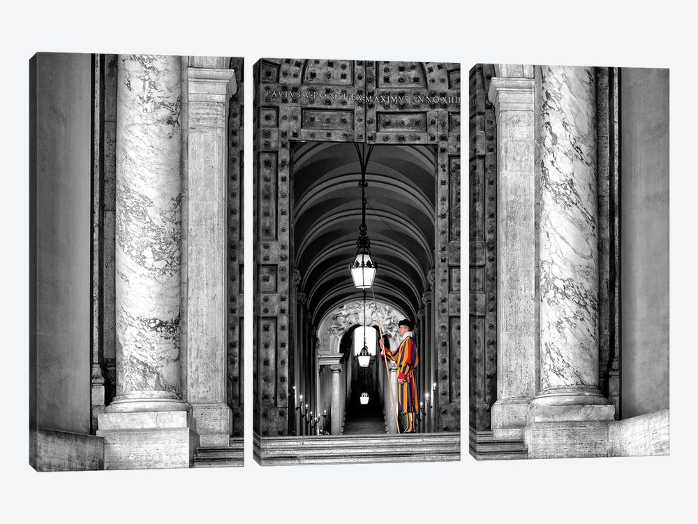 The Swiss Guard In Black & White by Philippe Hugonnard 3-piece Canvas Wall Art