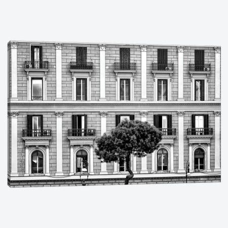 Dolce Vita Rome - Building Facade In Black & White Canvas Print #PHD505} by Philippe Hugonnard Canvas Wall Art