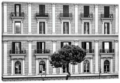 Building Facade In Black & White Canvas Art Print