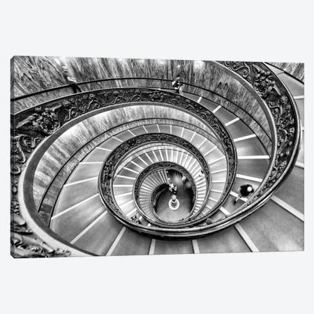 Dolce Vita Rome - Spiral Staircase In Black & White Canvas Print #PHD506} by Philippe Hugonnard Canvas Artwork