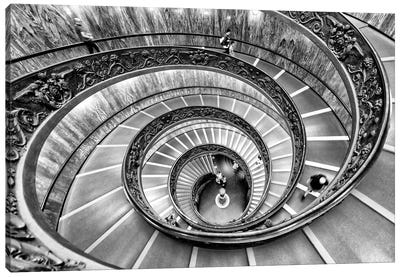 Spiral Staircase In Black & White Canvas Art Print