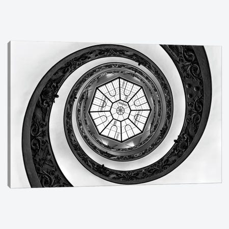 Dolce Vita Rome - Hypnotic Staircase In Black & White Canvas Print #PHD507} by Philippe Hugonnard Canvas Wall Art