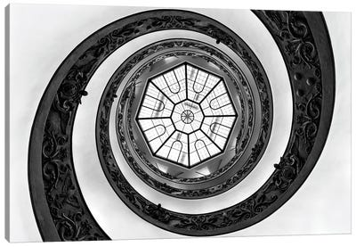 Hypnotic Staircase In Black & White Canvas Art Print