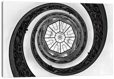 Hypnotic Staircase In Black & White Canvas Art Print